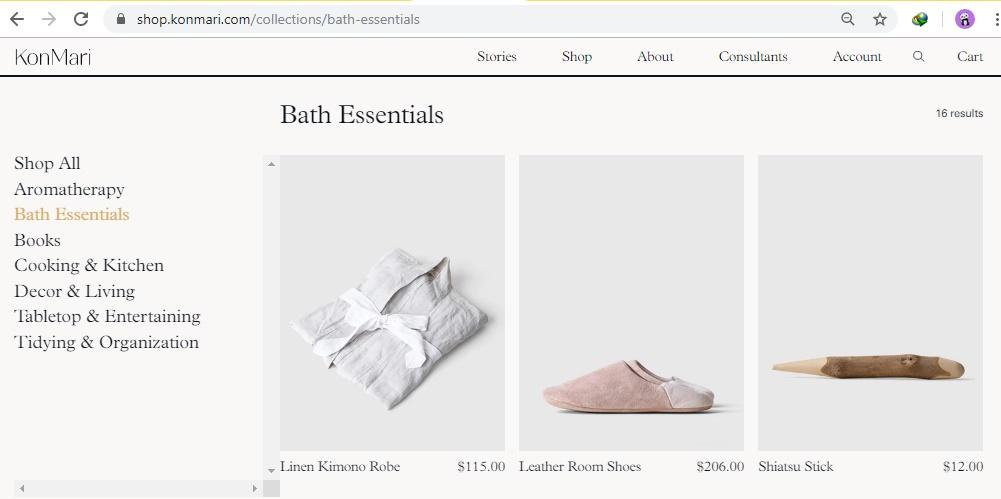 bath essentials Konmari